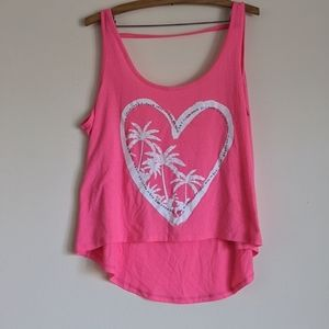 Neon Pink Heart Palm Tree Plus Size Tank Top 🌴💗